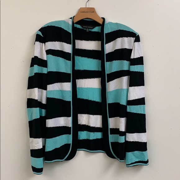 Ming Wang Sweaters - Ming Wang Striped Open Cardigan Size XL